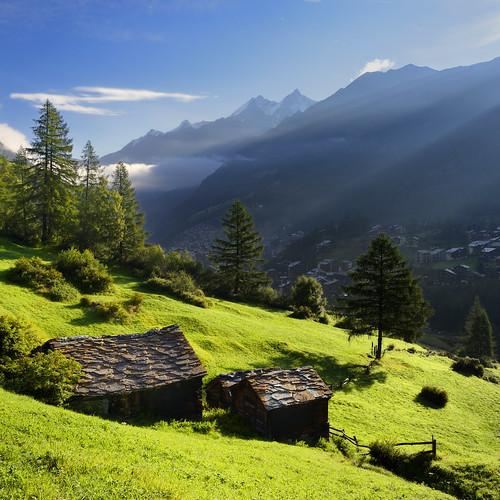 first sun rays in the valley, Zermatt