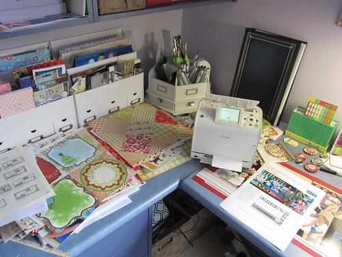 Scrapbook desk needing a tidy