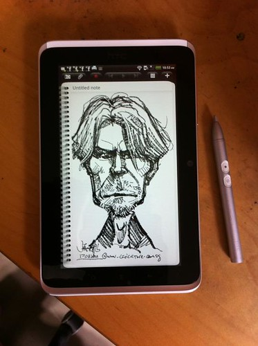 warm up sketch of David Bowie on HTC Flyer