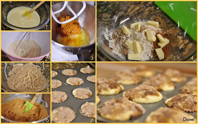 Pumpkin cheesecake muffins process