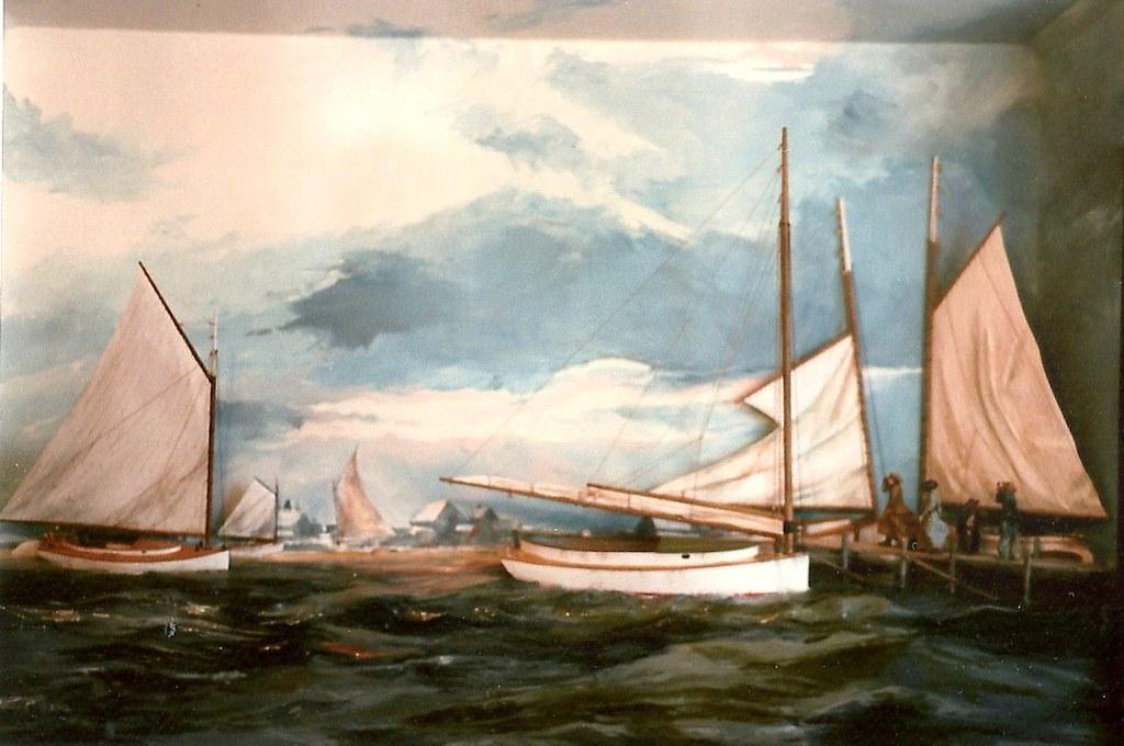 Jetties Beach -Nantucket c.1890,  Wood Shadowbox -Rex Stewart Originals