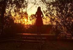 California Sunset edition (.OhSoBoHo) Tags: park sunset sky selfportrait me self canon bench moi io lensflare orangesky pearl reddress eveninglight selfie caliifornia hbm mise canoneos40d benchmonday ohsoboho picncbench
