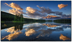Mt Rundle Sunrise! (G.GASP) Tags: travel blue camping trees light sunset summer sky lake canada mountains reflection fall tourism nature water pine clouds sunrise relax landscape rockies island still october peace hiking calm alberta serenity banff rockymountains ripples rundle banffnationalpark mtrundle