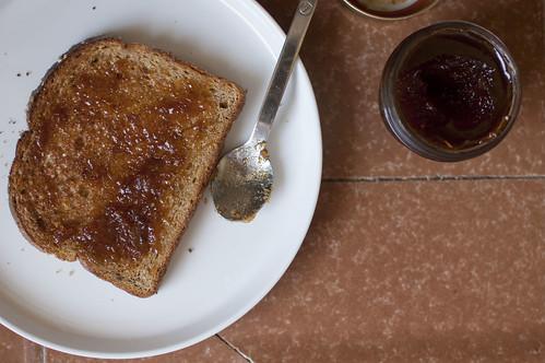 apricot jam, toast