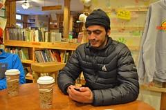Abdullah at Falling Rock Cafe and Bookstore in Munising, MI (alexanderwrege) Tags: michigan upperpeninsula eddiebauer universityoftoledo picturedrocksnationallakeshore firstascent americanlanguageinstitute nemoequipment nemotents nemomoto nemopentalite nemoobielite