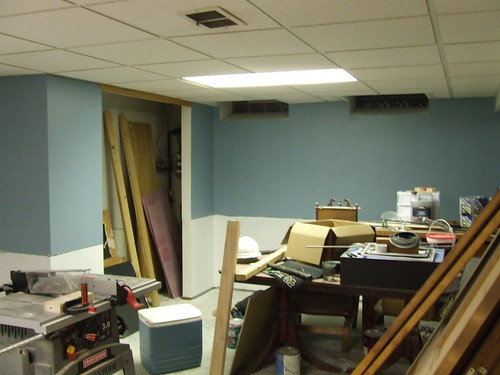Basement Progress: Painting - 1st coat of upper color