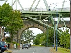 side by side (DigitalLyte) Tags: uk bridge england cheshire manchestershipcanal silverjubileebridge a533 runcornwidnes runcornrailwaybridge rivermersy summer2011 ethelfledabridge england2011