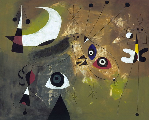 Joán Miró - Painting (Personage and Moon) [1950] by Gandalf's Gallery