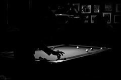 Ball in Hand (GreenIMAGES©) Tags: longexposure pool bar digital canon blackwhite washington lowlight candid tacoma tamron cueball xti 1750mm 400d magoosannex greenimages©