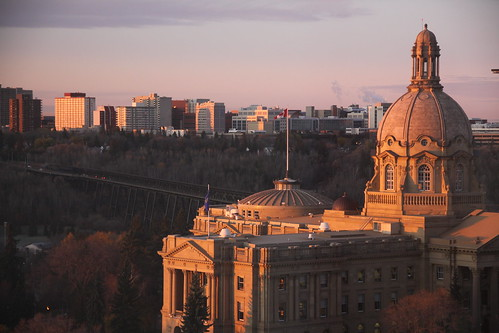 Sunrise at the Alberta Legislature and High Level Bridge