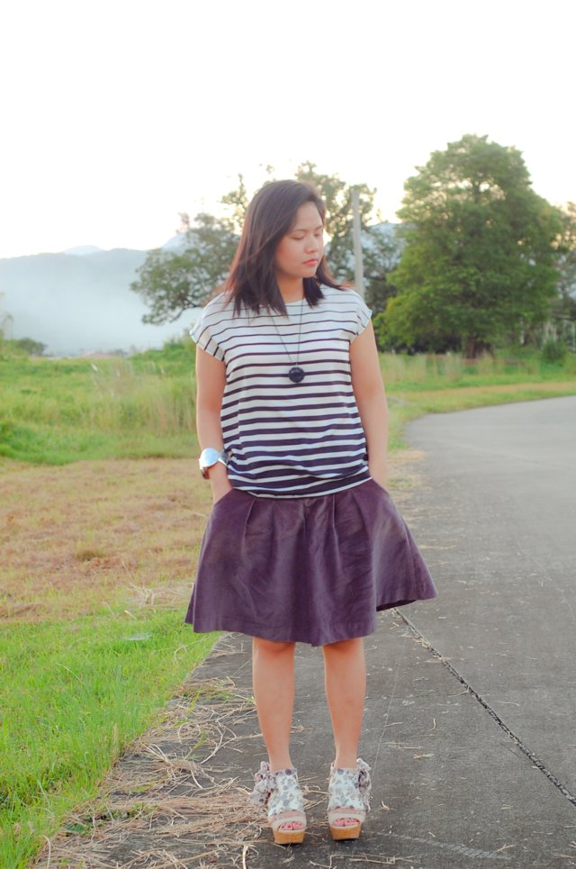 adora satin floral gray wedges, shoe etiquette, denise katipunera, thrift skirt, mommy style, Pinay blogger