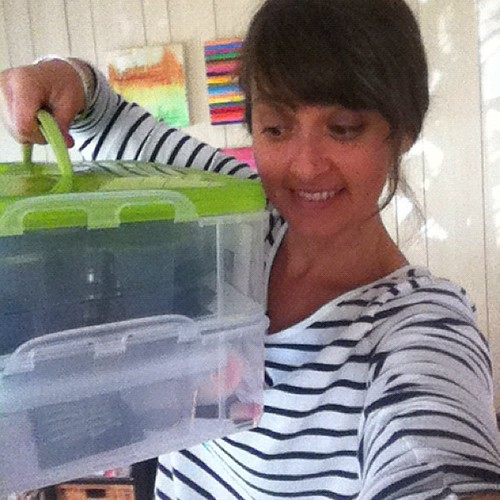 me and my face painting kit. I'm so excited to be face painting at the bug's school carnival tonight. Woot!