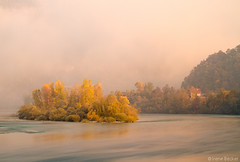A Foggy Autumn Morning On the  Drina River (Iris (Irene Becker)) Tags: morning autumn cliff fog sunrise serbia balkan srbija srb 2011 jesen zlatibor taramountain srpskoselo bajinabasta canon7d bajinabata bestcapturesaoi zapadnasrbija westserbia doubleniceshot tripleniceshot mygearandme mygearandmepremium mygearandmebronze mygearandmesilver mygearandmegold mygearandmeplatinum mygearandmediamond irenebecker nacionalniparktara kanjondrine irenebeckerorg taranationalpark imagesofserbia  taranacionalnipark drinariverisland houseondrinariverisland landscapesofserbia serbianlandscapes