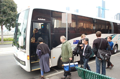 piling onto the bus