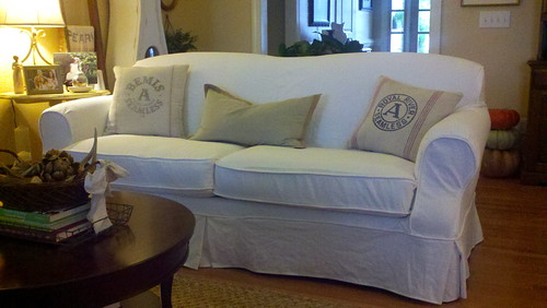 white sofa slipcover