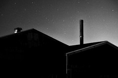 tin roof (StephenCairns) Tags: longexposure roof blackandwhite bw japan night stars explore smokestack  airvent roofline  gifu tinroof 50mmf14 motosu   canon50d 50dcanon