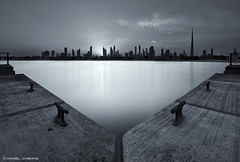 Triangulation (DanielKHC) Tags: bw beach monochrome skyline digital sunrise 1 nikon triangle long exposure dubai jetty uae explore hdr jumeirah blending d300 nd400 danielcheong danielkhc tokina1116mmf28