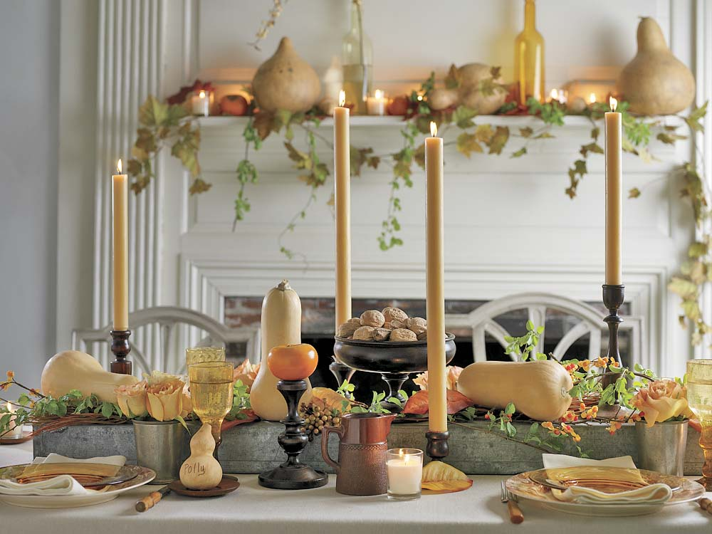 classic thanksgiving table and centerpiece