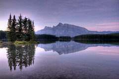 Two Jack Lake (Jeremy Duguid) Tags: banff national park two jack lake sunrise mt rundle canon 50d alberta canada dawn mountain landscape nature horizon clouds colors colours pink purple rocks reflection jeremy duguid jeremyduguid
