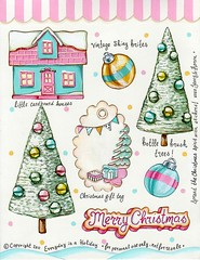 Everyday is a Holiday Christmas sticker sheet #2 (holiday_jenny) Tags: christmas trees house art collage glitter vintage scrapbooking layout mixedmedia journal balls tags lo retro gifts cardboard ornaments bulbs sheet bottlebrush tickers