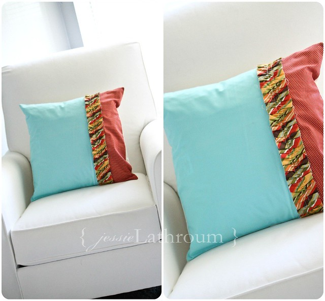Blue Ruffle Pillow Cover
