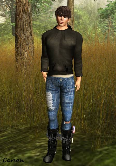 JfL Men's wear - Knitted Hoodie, The White Angel  - Varity Jeans, Dino's Bootique - Wicked and Sweet Boots