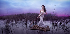 Prevailing Hope (Rob Woodcox) Tags: morning light sky white water beauty fashion sunrise hair hope dress purple natural god branches surreal rope calm pearls vogue swamp raft bridal thistles romans prevail robwoodcox robwoodcoxphotography