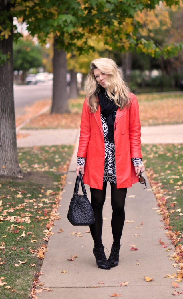 black and white dress - black tights-red jacket