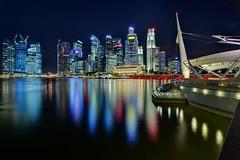 Singapore CBD skyline from Esplanade (Nicolas Lannuzel) Tags: city longexposure night buildings singapore asia esplanade hugin tokina1224mmf4 nikond7000