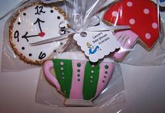 Alice in Wonderland Cookies (Alyson / Corner House Cookies) Tags: birthday party baby clock mushroom cookies hearts cookie alice sugar teapot teacup wonderland stopwatch favors