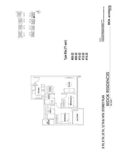 Bedok Residence 2BR Floorplan