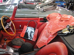 Travelling in Style (purseypig) Tags: red leather shoes shiny hats spots accessories buckle handbag beaulieu steeringwheel gearstick rainmac