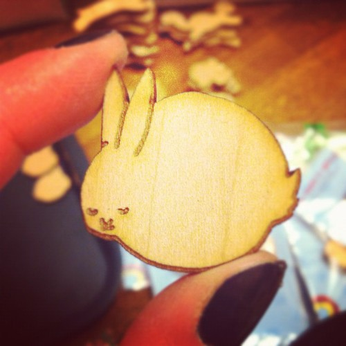 Here is my sleeping bunny wood pin.