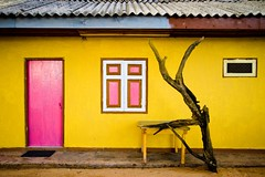 Couple of the Year (Universal Stopping Point) Tags: door pink geometric beach yellow wall sand colorful driftwood shutters srilanka guesthouse hikkaduwa tinroofrusted