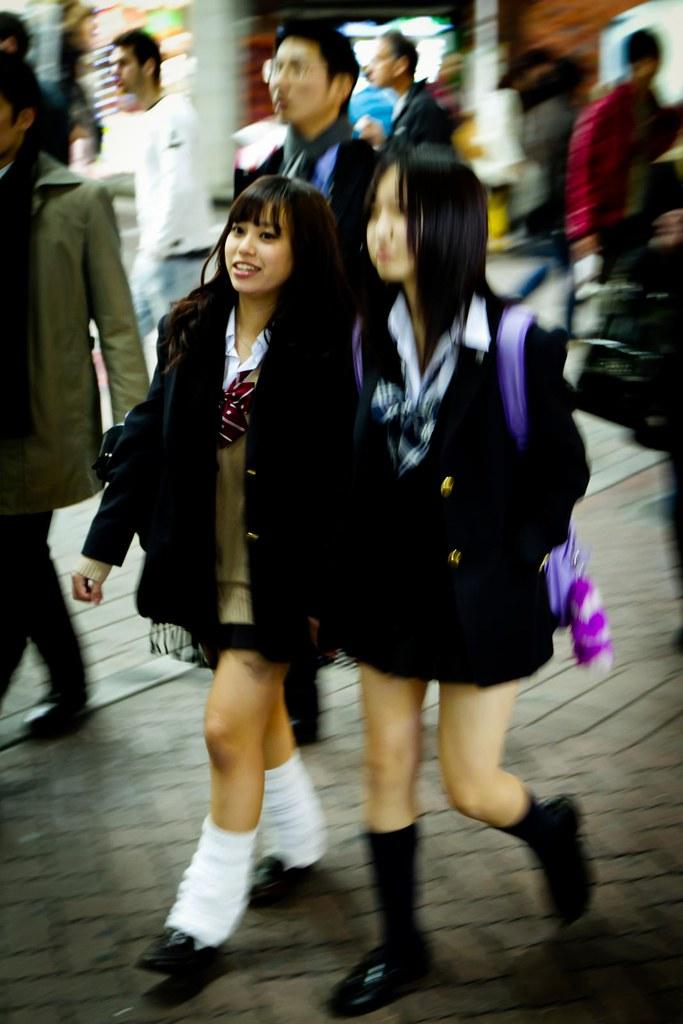 Tokyo, Shibuya, College girls in uniform (boris maillard) Tags: street  college