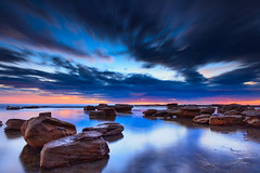 Coalcliff Moon (stevoarnold) Tags: seascape water clouds sunrise rocks sydney australia nsw illawarra coalcliff