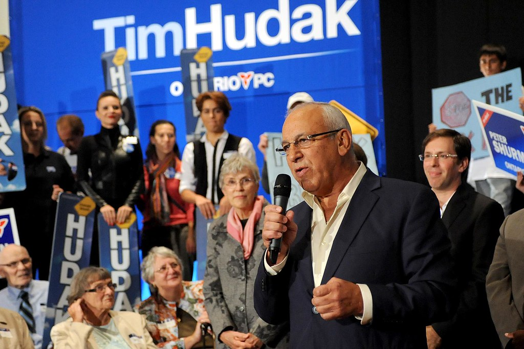 Ontario PC Candidate for Thornhill Peter Shurman speaks to supporters at a rally in Vaughan, ON.
