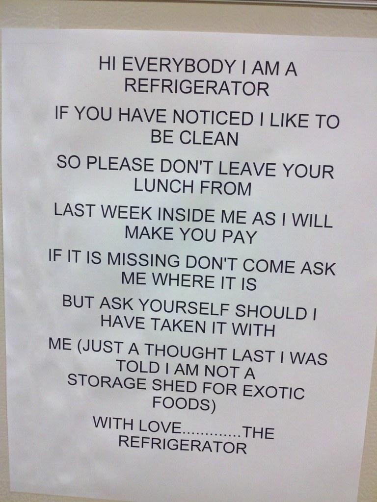 Hilarious Office Fridge Notes That Will Make You Cringe
