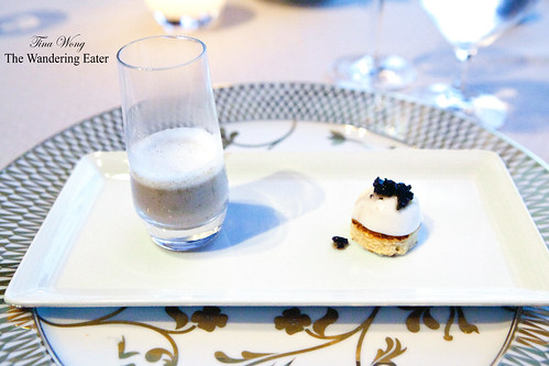 Amuse plate #2: Mushroom Veloute (with some of my Périgord truffle) & Homemade burrata topped with finely chopped Périgord truffle