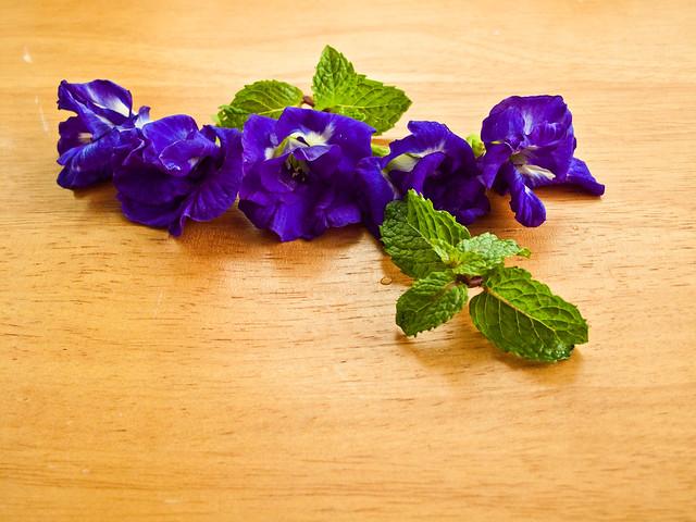 IMG_1631 ,Blue pea flowers ( Clitoria ternatea, bunga telang ) and mint leaves