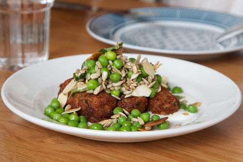 Braised rabbit croquettes, minted pea salad