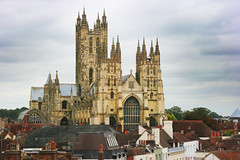 Canterbury Cathedral from (new) Marlowe Theatre (Jim_Higham) Tags: christmas old uk autumn england english church kent europe open rooftops calendar cathedral theatre britain eu canterbury card marlowe opening british chimneys anglical 2011