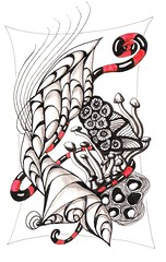 Pods and More  P.Pincha-Wagener c 2010 (ppinchawagener flicker) Tags: red music white black art fall nature mushroom spiral interesting journal line most zen thankful meditation zia tangle zentangle zentagle zendoodle pamtangle betweed