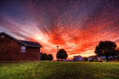 Yesterdays Sunrise (JGo9) Tags: sky house tree brick home window grass clouds sunrise canon landscape eos rebel day cloudy kentucky ky powerlines gutter hdr waynesburg t1i