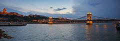 Night panorama from the Chain Bridge in Budapest 1 (Romeodesign) Tags: bridge sunset panorama castle night river lights hungary ship budapest wide duna brcke danube buda donau lnchd chainbridge 550d gettyhungary1
