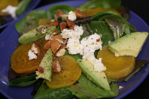 Baby Greens with Golden Beets, Goat Cheese, Avocado, and Chopped Almonds