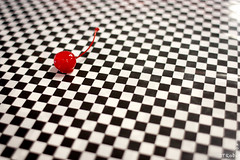 Cherry Illusion (JTRoboPhoto) Tags: red white black cherry cherries illusion checkerboard opticalillusion selectivecolor cherryred redblackwhite naturalselectivecolor