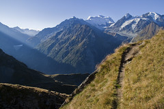 The Chamois Hiking Path, near Verbier (Hulivili) Tags: morning snow mountains sunrise trekking landscape switzerland early shadows hiking path walk des glacier le sentier chamois