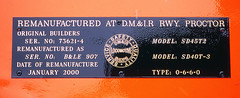 BLE 907 Rebuilders Plate (Missabe Road) Tags: proctor ble 907 dmir emd tunnelmotor sd40t3