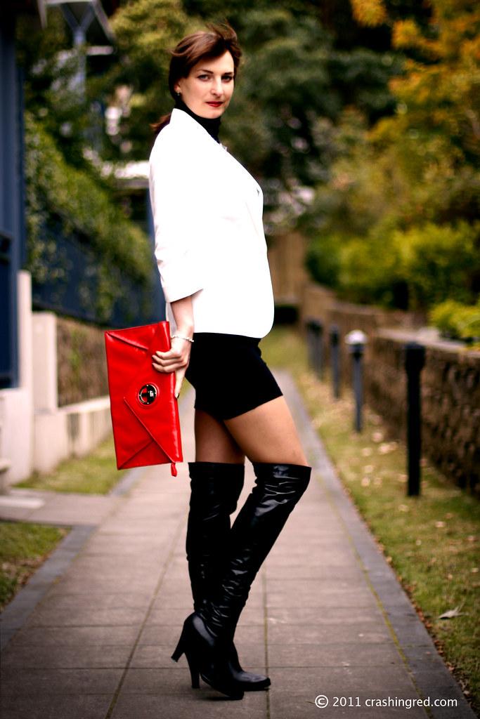 e2076963d20 Business chic (CrashingRed) Tags  whiteblazer officestyle businesschic  redleatherclutch longleatherboots autumn2011 crashingred  australiafashionblog